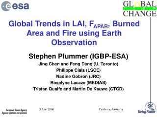 Global Trends in LAI, F APAR , Burned Area and Fire using Earth Observation