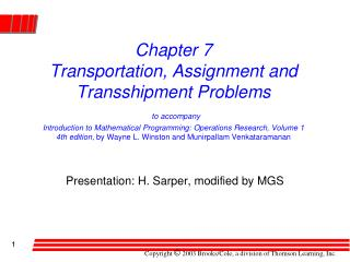 Presentation: H. Sarper, modified by MGS