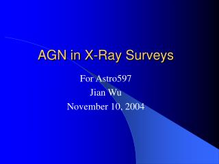 AGN in X-Ray Surveys