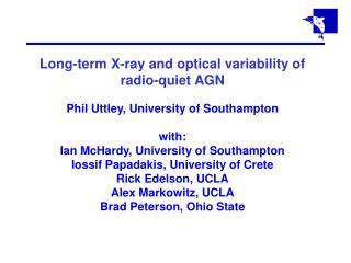 Long-term X-ray and optical variability of radio-quiet AGN