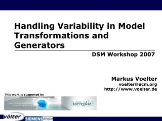 Handling Variability in Model Transformations and Generators