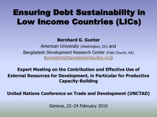 Ensuring Debt Sustainability in Low Income Countries (LICs)