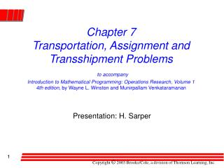 Presentation: H. Sarper