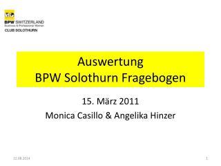 Auswertung  BPW Solothurn Fragebogen