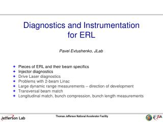 Diagnostics and Instrumentation for ERL