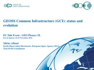 GEOSS Common  Infrastructure (1)