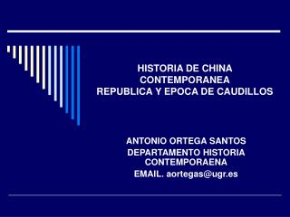 HISTORIA DE CHINA CONTEMPORANEA REPUBLICA Y EPOCA DE CAUDILLOS