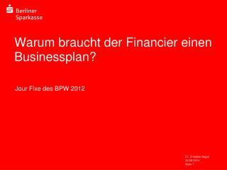 Warum braucht der Financier einen Businessplan?