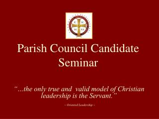 Parish Council Candidate Seminar