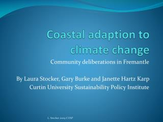 Coastal adaption to climate change