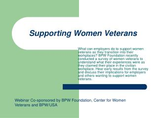 Supporting Women Veterans