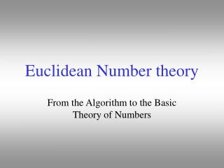 Euclidean Number theory