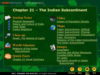 Chapter 21 � The Indian Subcontinent