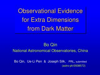 Observational Evidence for Extra Dimensions  from Dark Matter