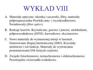 WYK ?AD VIII