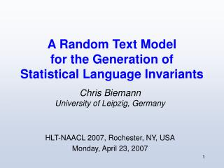 A Random Text Model  for the Generation of  Statistical Language Invariants