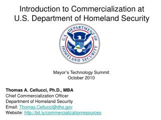 Introduction to Commercialization at  U.S. Department of Homeland Security