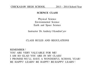CHICKASAW  HIGH  SCHOOL                 2013 – 2014 School Year
