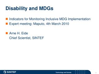 Disability and MDGs