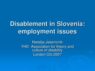 Disablement in Slovenia: employment issues