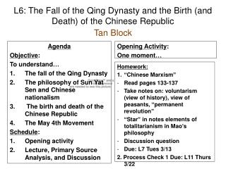 L6: The Fall of the Qing Dynasty and the Birth (and Death) of the Chinese Republic Tan Block