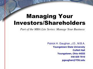 Managing Your Investors/Shareholders