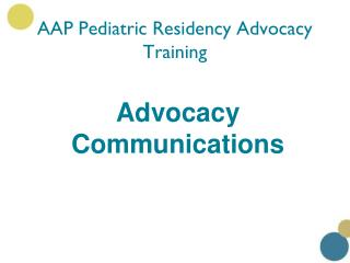 AAP Pediatric Residency Advocacy Training