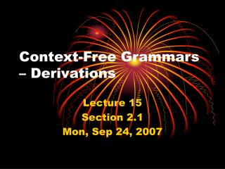 Context-Free Grammars – Derivations