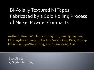 Bi-Axially Textured Ni Tapes Fabricated by a Cold Rolling Process of Nickel Powder Compacts