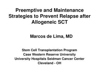 Preemptive and Maintenance Strategies to Prevent Relapse after Allogeneic SCT