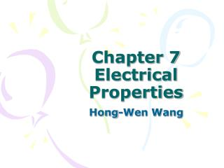 Chapter 7  Electrical Properties