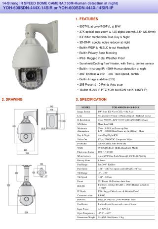 550TVL at color/700TVL at B/W 37X optical auto zoom & 12X digital zoom(f=3.5~129.5mm)