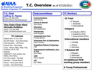 T.C. Overview  as of 07/29/2011