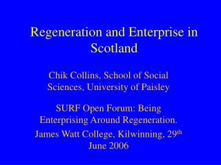 Regeneration and Enterprise in Scotland
