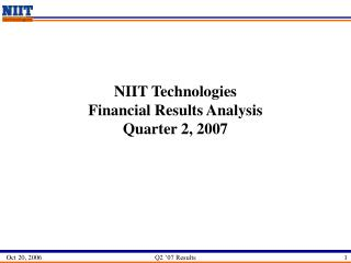 NIIT Technologies  Financial Results Analysis Quarter 2, 2007