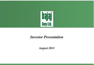 Investor Presentation August 2011