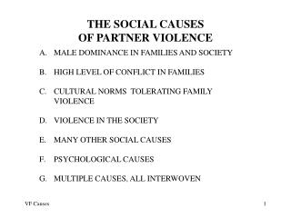 THE SOCIAL CAUSES OF PARTNER VIOLENCE