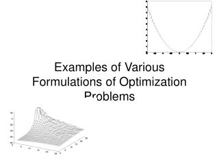 Examples of Various Formulations of Optimization Problems