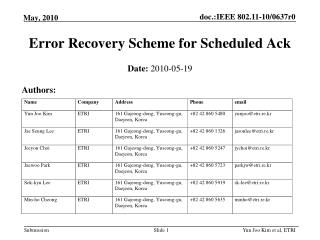 Error Recovery Scheme for Scheduled Ack