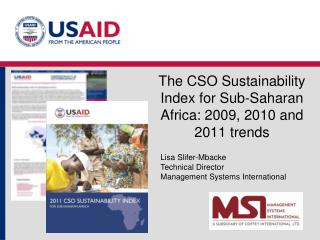 The CSO Sustainability Index for Sub-Saharan Africa: 2009, 2010 and 2011 trends