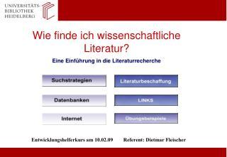 Wie finde ich wissenschaftliche Literatur? Eine Einführung in die Literaturrecherche