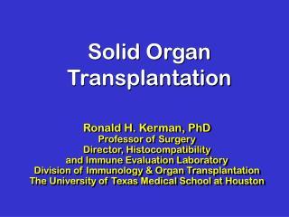 Solid Organ Transplantation