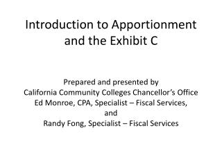 Introduction to Apportionment and the Exhibit C