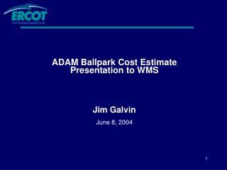ADAM Ballpark Cost Estimate Presentation to WMS Jim Galvin June 8, 2004