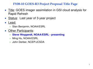 FY08-10 GOES-R3 Project Proposal Title Page