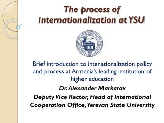 The process of internationalization at YSU