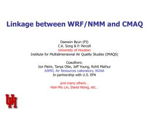 Linkage between WRF/NMM and CMAQ