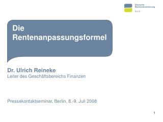 Dr. Ulrich Reineke Leiter des Geschäftsbereichs Finanzen