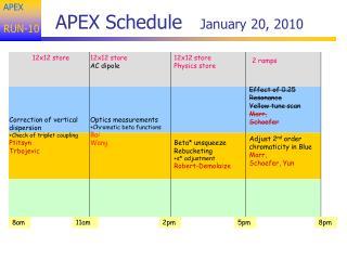 APEX Schedule    January 20, 2010