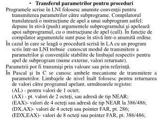Transferul parametrilor pentru proceduri
